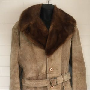 Men's suede fur collar trench coat